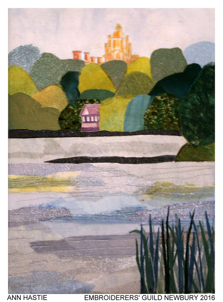 """""""A View of Blenheim"""" by Ann Hastie, Newbury branch of Embroiderers' Guild. Part of """"Celebrating 300 years of Capability Brown"""" exhibition at Blenheim Palace 13 April - 2 May 2016. Exhibition held as part of the UK's Capability Brown Festival"""