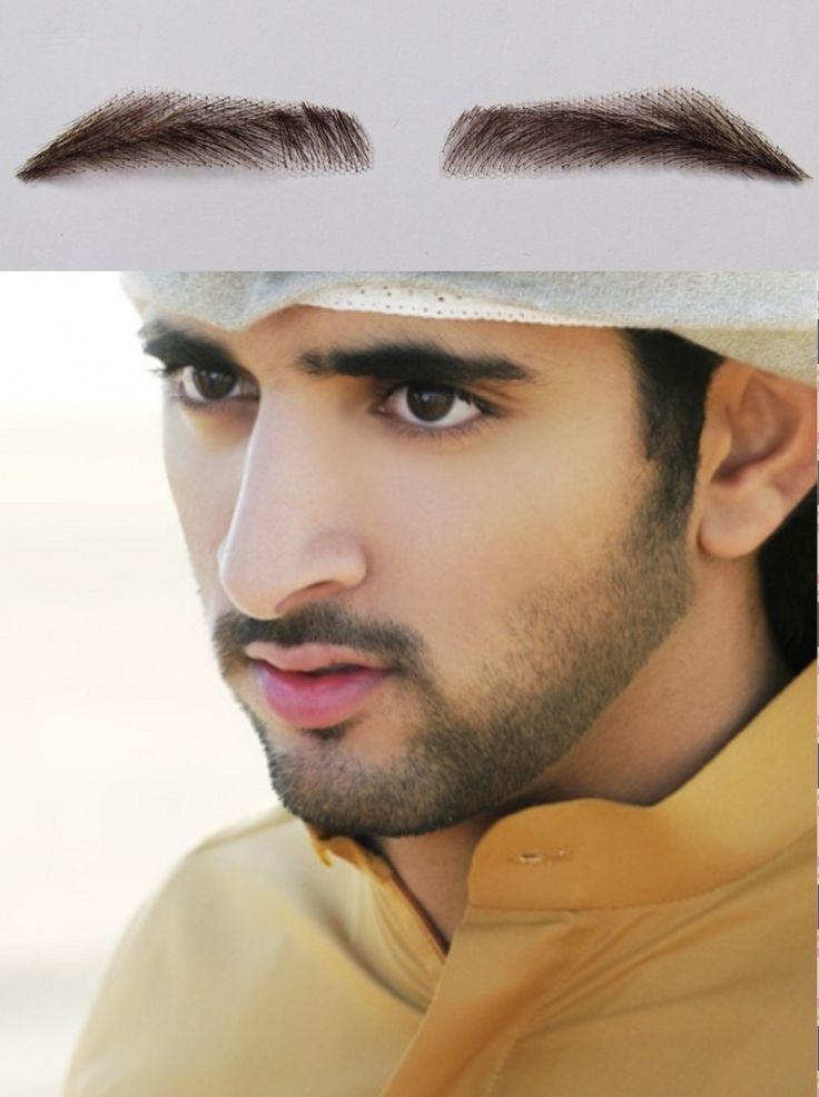 2017 Natural Sobrancelha 2pcs (1pairs) 100% Real Hair Man False Eyebrows/ Dubai King Eyebrow Dark Color Hand Made Extension