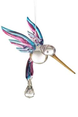 Hand blown, hand painted glass Hummingbird with a Swarovski Crystal  only £8.95