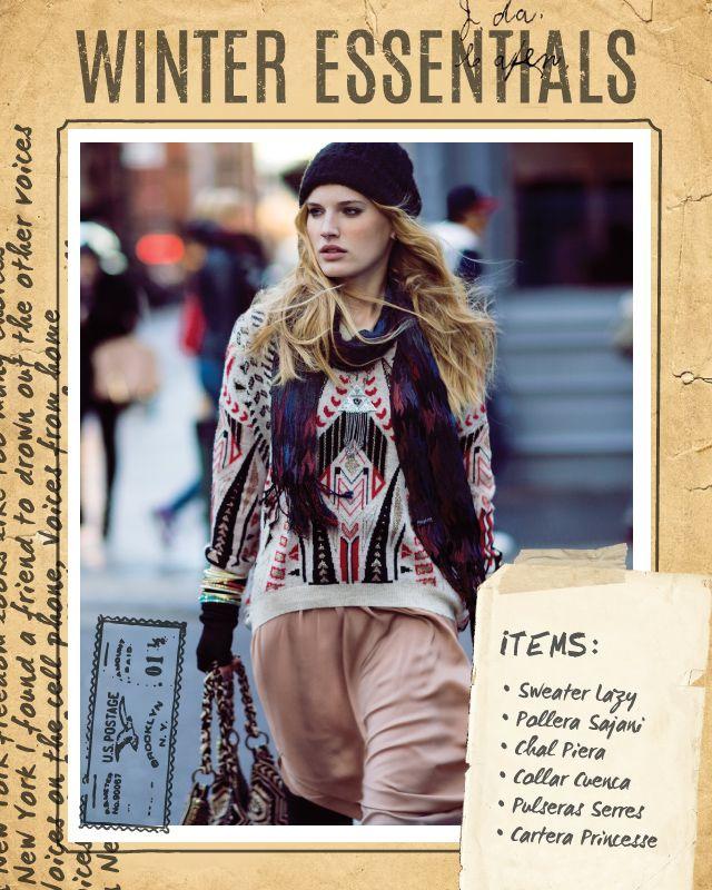 Sweater Lazy / Pollera Sajani / Chal Piera / Collar Cuenca / Pulseras Serres / Cartera Princesse #winteressentials #indiastyle