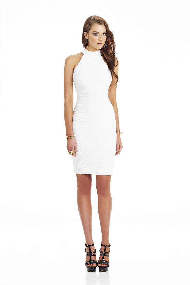 Uptown Girl Knit High Neck Dress White #nookie