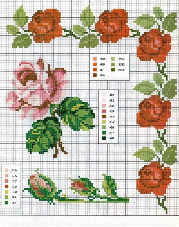 186 best fleur roses flower point de croix cross stitch images on pinterest. Black Bedroom Furniture Sets. Home Design Ideas