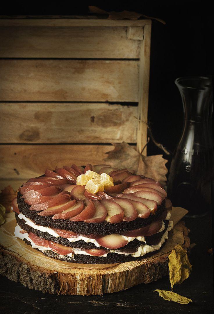 GINGERBREAD GUINNESS LAYER CAKE DE PERAS ESCALFADAS AL VINO - See more at: http://sweetandsour.es/gingerbread-guinness-layer-cake-de-peras-escalfadas-al-vino/#sthash.Ehx9r2LK.dpuf