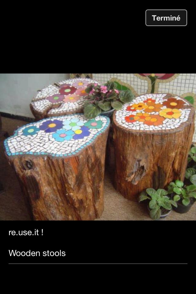 Si ges tronc arbre diy mosa que pinterest jardins for Fabriquer table mosaique