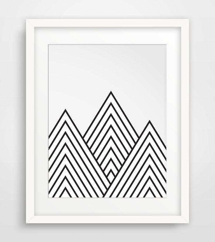 Mountains Geometric Mountain Printable Art par MelindaWoodDesigns