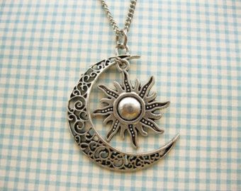 Moon And Sun Necklace Rescent Moon Necklace Sun Jewelry Pendant Necklace BFF Graduation Gift