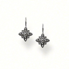 H1793-020-11.  Thomas Sabo.  Sterling Silver    Special Addition    Earrings   925 Sterling silver, blackened   marcasite  The new flower motif radiates total elegance in these swan-neck earrings.  Size: 0.7 cm