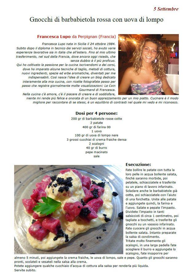 """La Ricetta di oggi 5 Settembre dall'archivio di Ricette 3.0 di spaghettitaliani.com - Gnocchi di barbabietola rossa con uova di lompo ( Primi - Gnocchi ) inserita da Francesca Lupo - La ricetta si trova anche nel Libro """"Una Ricetta al Giorno... ...leva il medico di torno"""" prodotto dall'Associazione Spaghettitaliani, per acquistarlo: http://www.spaghettitaliani.com/Ricette2013/PrenotaLibro.php"""