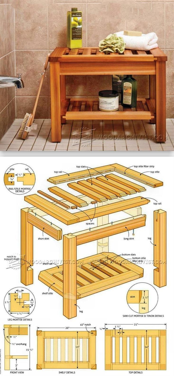 Shower Bench Plans - Furniture Plans and Projects   WoodArchivist.com