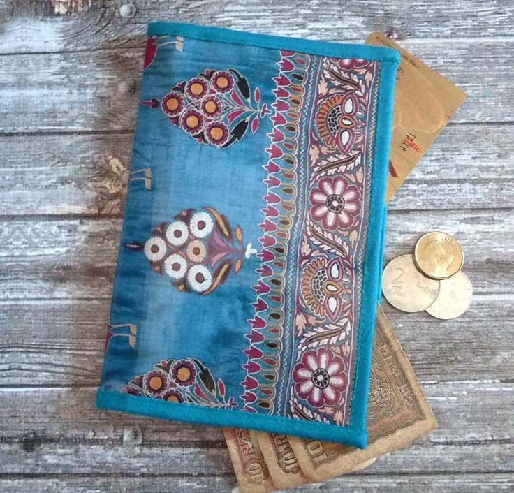 Portefeuille femme original Inde Broderies fleurs et paons : Porte-monnaie, portefeuilles par rougemadras