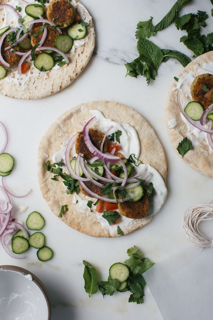 Baked Falafel Wraps with Garlic-y Labneh and Lots of Herbs