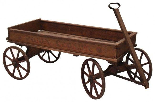173 Antique Paris Coaster Wood Childs Wagon No 16 Lot
