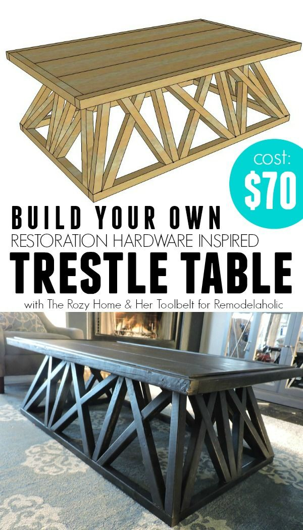 Build a Restoration Hardware Inspired Trestle Door Table via @Remodelaholic #knockoff