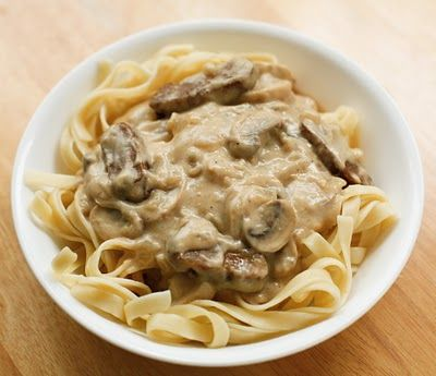 "Vegan ""Beef"" Stroganoff  Made 2/19/11 - Holy hell this was out of this world amazing."