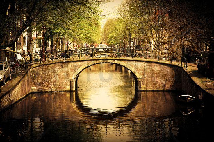 Romantic Bridge Over Canal in Amsterdam - Fototapeter & Tapeter - Photowall