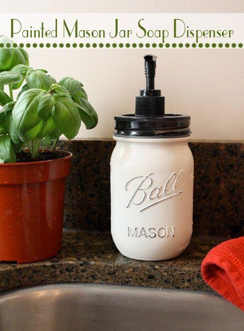 DIY Painted Mason Jar Soap Dispenser