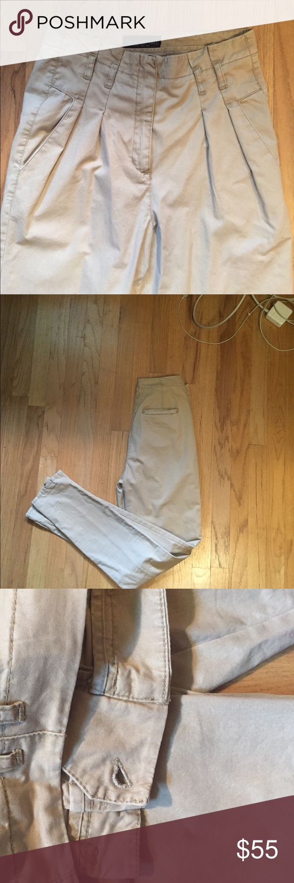 Topshop Tall High Waisted Khakis High waisted pleated khakis from Topshop's Tall collection...there is a button missing on the inside but they zip all the way up & can be easily fixed...FEEL FREE TO MAKE REASONABLE OFFERS! Topshop Pants Skinny