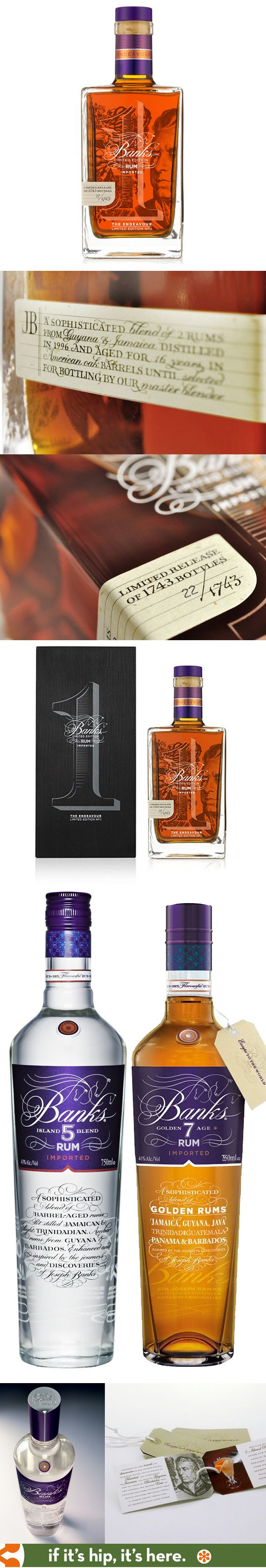 The beautiful bottles, hang tags and packaging for Banks' various rums. The limited edition Endeavor won a 2012 Pentagram packaging award.