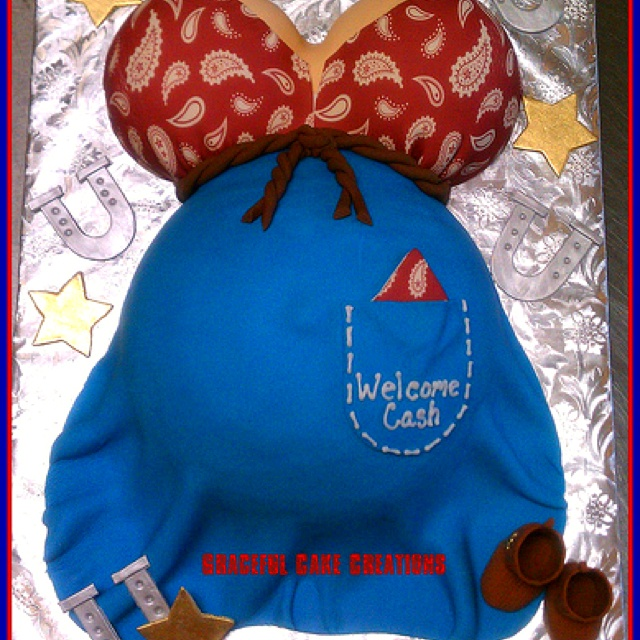 Pregnant Belly Cake with a Western Twist! Love it.