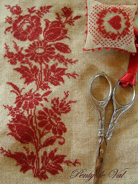 needlework in red...