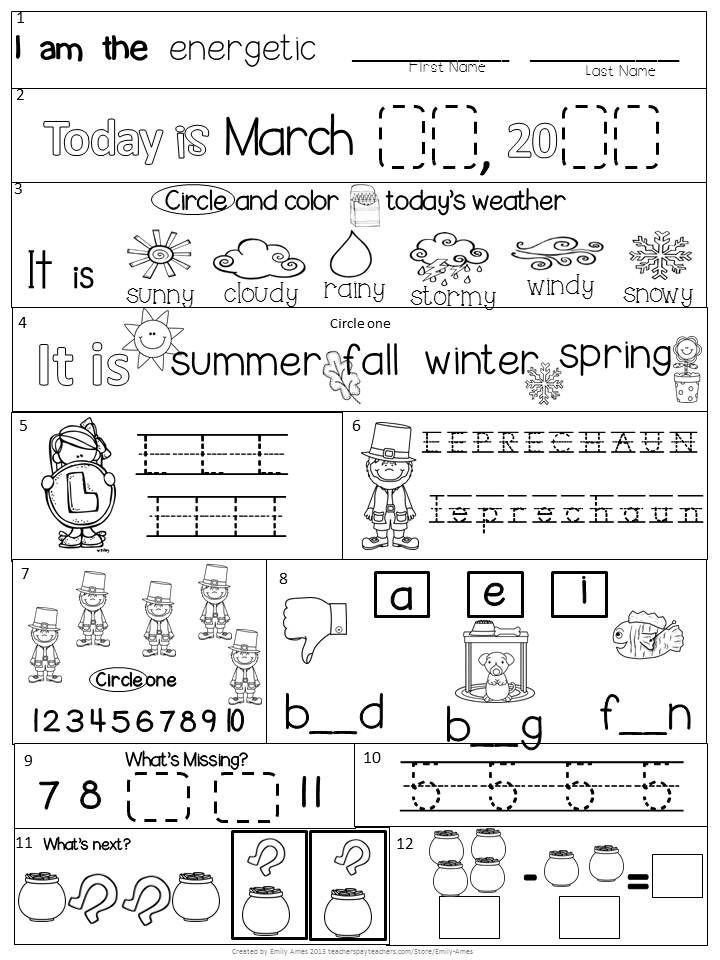 Morning Work Kindergarten Packet For March Common Core Differentiated Spring In 2020 Kindergarten Morning Work March Kindergarten Syllable Worksheet
