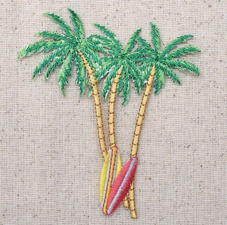 """Palm trees and surf boards Iron on Applique Size is approx. 3-1/8"""" x 3-3/4"""" (7.9cm x 9.5cm) High quality, detailed embroidery applique. Great for hats, bags, clothing, and more! Can be sewn or ironed"""