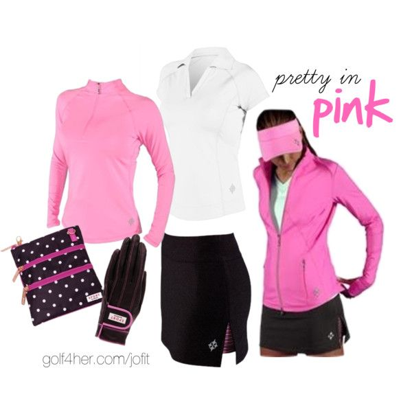 """Golf OOTD: Pink and Charcoal"" by golf4her on Polyvore"
