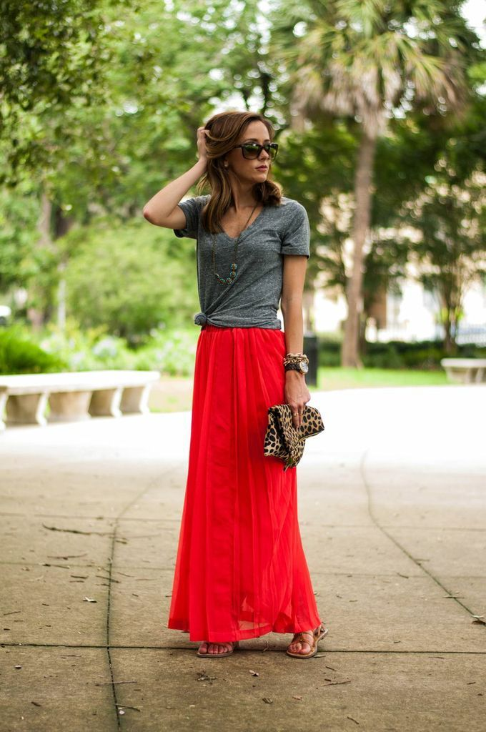 Sequins and Things: boldRed Maxi Skirts, Fashion, Summer Outfit, Style, Grey Tee, Long Skirts, T Shirts, Red Maxis Skirts, Red Skirts