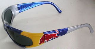 Custom Painted Glasses in Red Bull Colors #166 ~ Hand Painted Helmets - Design your helmet today..!!