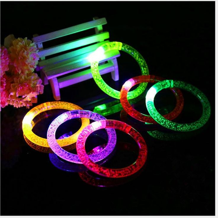 2PCS Light-Up Acrylic LED Flashing Rave Glow Blinking Bracelet