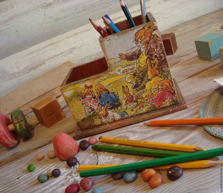 """Купить Карандашница """"Зайкина школа"""" - комбинированный, карандашница, ретро, школа, для ученика, для школы, винтаж, Сказки"""
