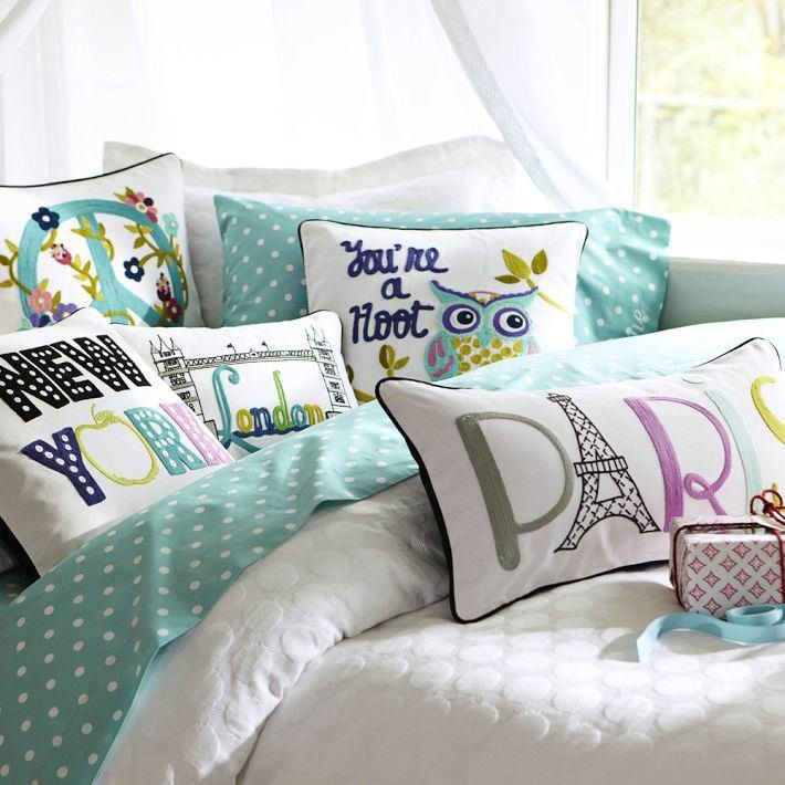 Pottery Barn Teen. I love that Paris pillow!