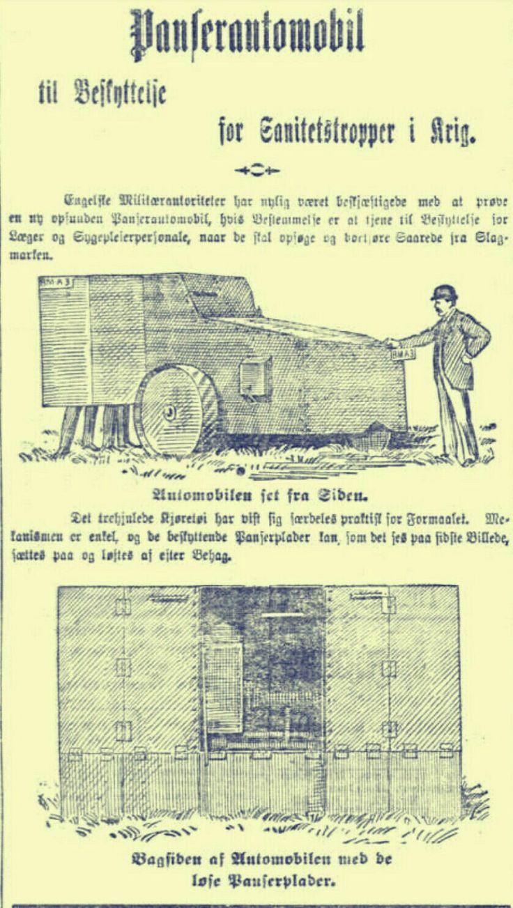 Aftenposten 1904 Panserautomobil for benyttelse for sanitetstropper i krig.