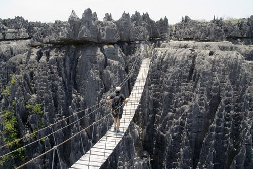See the Limestone formations at Tsingy de Bemaraha Nature Reserve near west coast of Madagascar