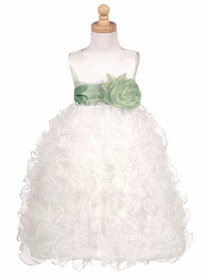 Blossom - Ivory Satin Bodice w/ Ruffled Organza Skirt