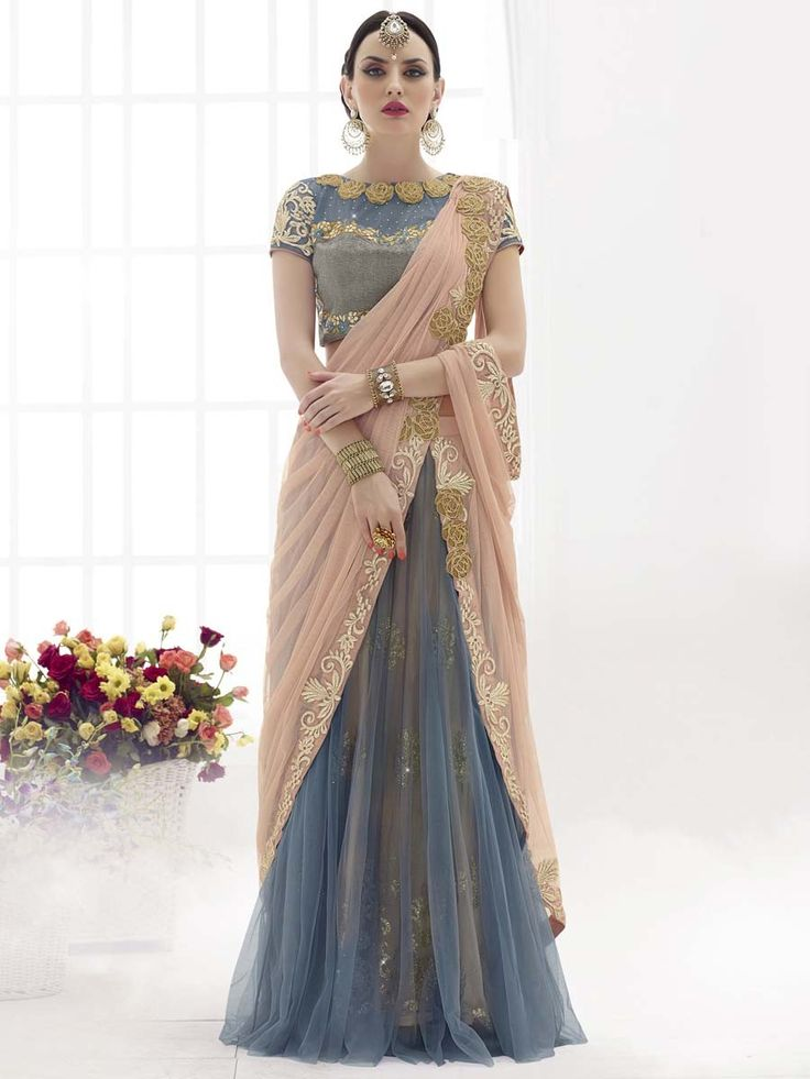 Beauteous grey and peach color #Lehenga style net saree with stone and resham embroidery work. Item Code: SAV3810 http://www.bharatplaza.com/new-arrivals/sarees.html