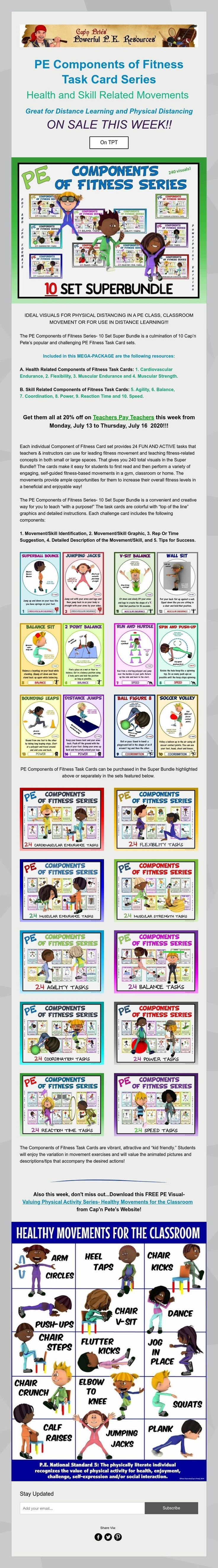 PE Components of Fitness Task Card Series Health and Skill