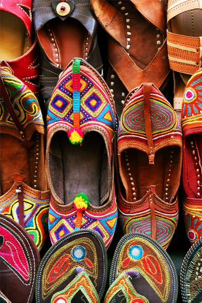 Indian traditional slippers. Click through for our India travel guide.