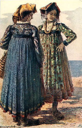 Illustration of women in costume, Dalmatia region, circa 1930-1937 :: Blanche Payne Regional Costume Photograph and Drawing Collection