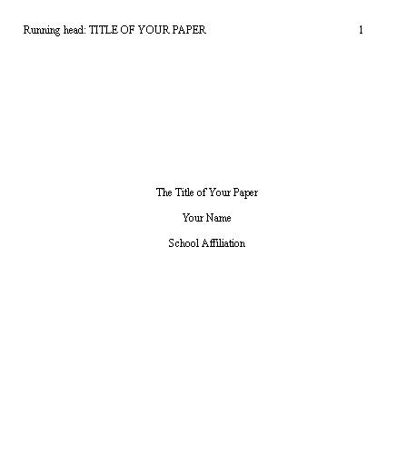 An example of a title page in APA format.