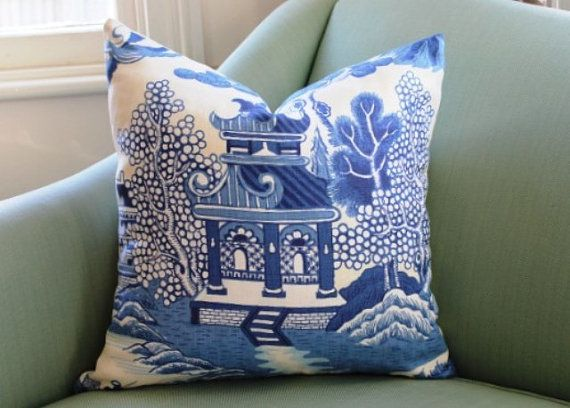 Lee Jofa Willow Pattern Chinoiserie Pillow Cover 20 Inch