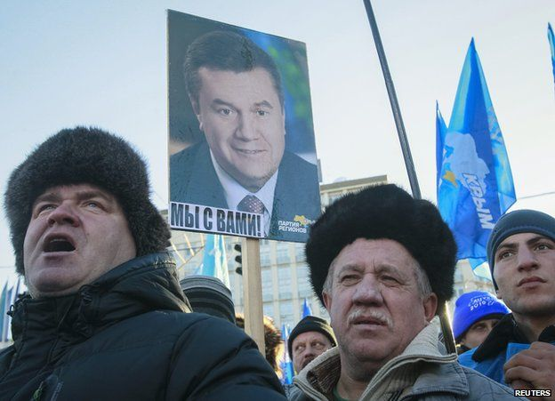 Pro-Yanukovych demonstration in Kiev, Analysis: Russia's carrot-and-stick battle for Ukraine. (12-16-13)