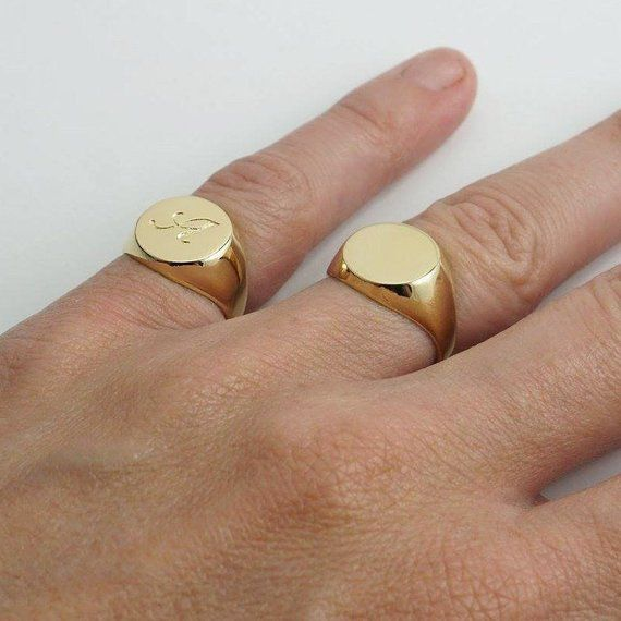 Gold plated pinky ring for men, Personalized men's signet ring engraved  with initial letter or symbol, Sterling silver men's custom ring | Signet  ring men, Rings for men, Mens pinky ring