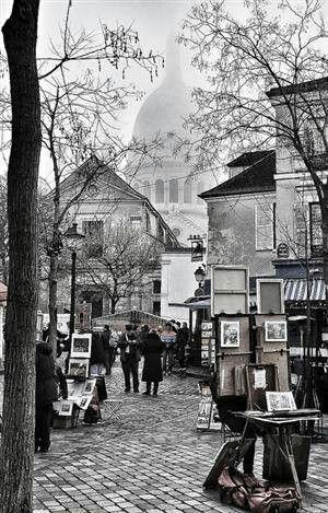 """photo noir et blanc : La Bohème, """"Montmartre en ce temps-là accrochait ses lilas…"""