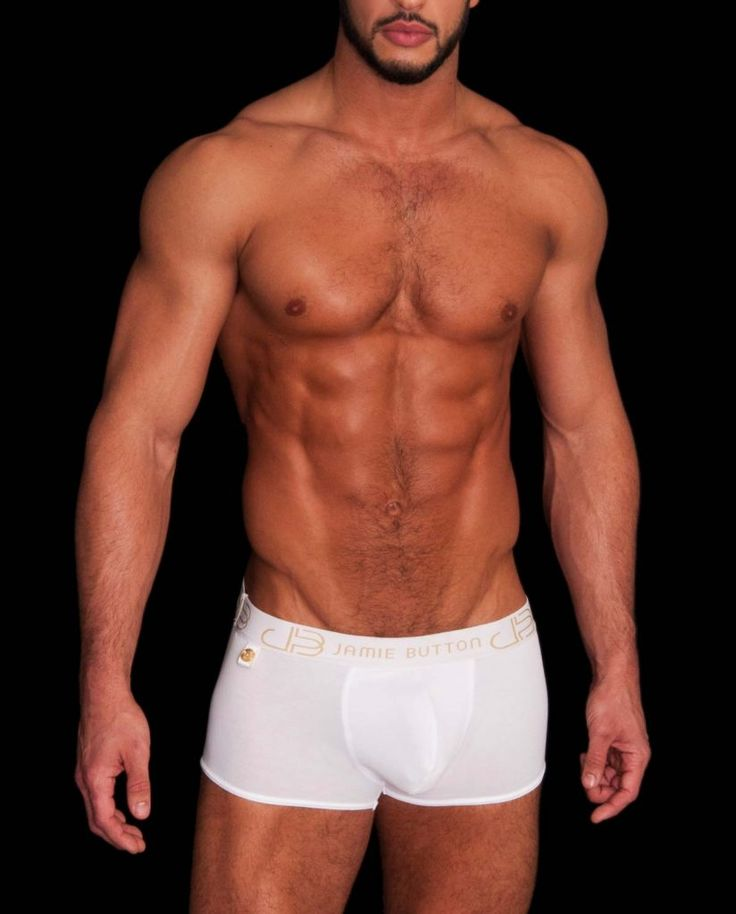 Male underwear model wearing Jamie Button London White and Gold men's trunks
