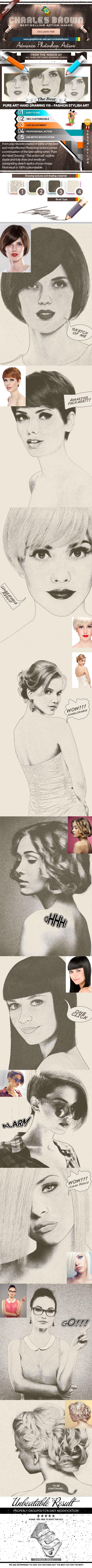 Pure Art Hand Drawing 110 – Fashion Stylish Art - Photo Effects Actions