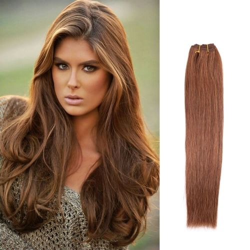 """100% Brazilian Remy Human Hair Weave Extensions #6 Medium Brown Hair Color Straight Weft 18"""" Inch 100 Gram  $53.00"""
