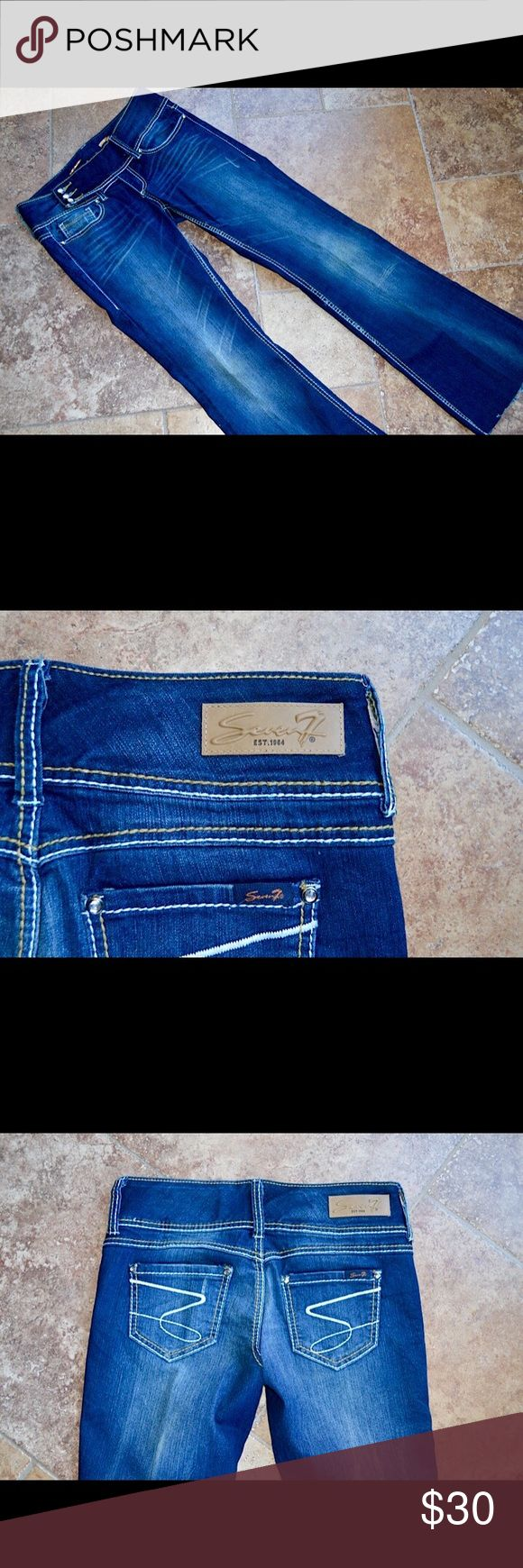 EUC💕 Seven7 Jeans with front belt-like closure😍 EUC💕 Seven7 Jeans with front belt-like closure😍 Flare bottoms, beautiful stitching down seams❣❣ Size 28🛍🛍 Seven7 Jeans Flare & Wide Leg
