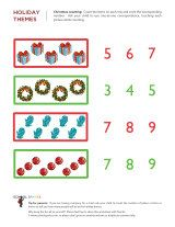 Kindergarten or Preschool worksheets - Christmas math worksheets 3