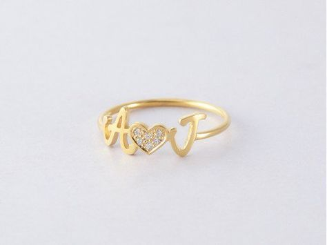 f5c972def0 Double Initials Ring with Diamond Heart in 2019 | fav | Rings ...